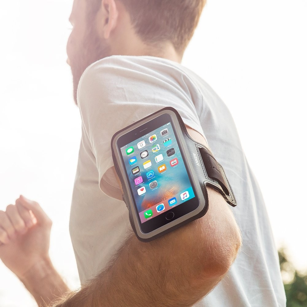 Anker Sport Armband for iPhone X / 8 / 7 Plus/ 6 Plus / iPhone 6s Plus (5.5 inch) with Headphone and Key Slots and 2 Extra Cuttable Velcro Strips, AK-A7091011