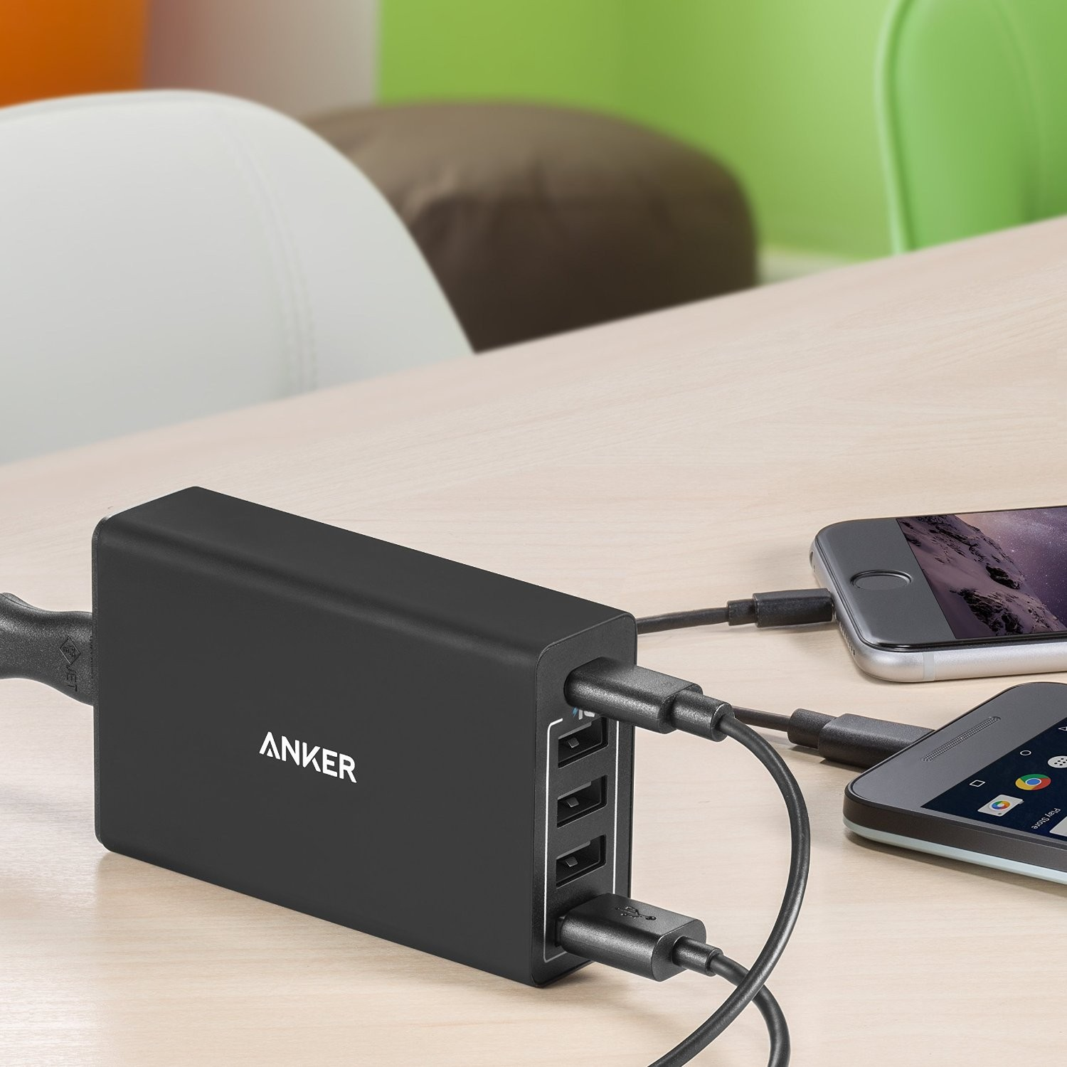 Anker PowerPort 5 (40W 5-Port USB/USB-C Wall Charger) with USB-C - Black, AK-A2052111