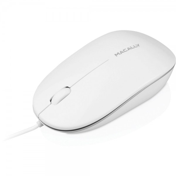 Macally IceMouse Wired USB 2.0 Optical 3 Button Scrolling Mouse - White, ICEMOUSE2