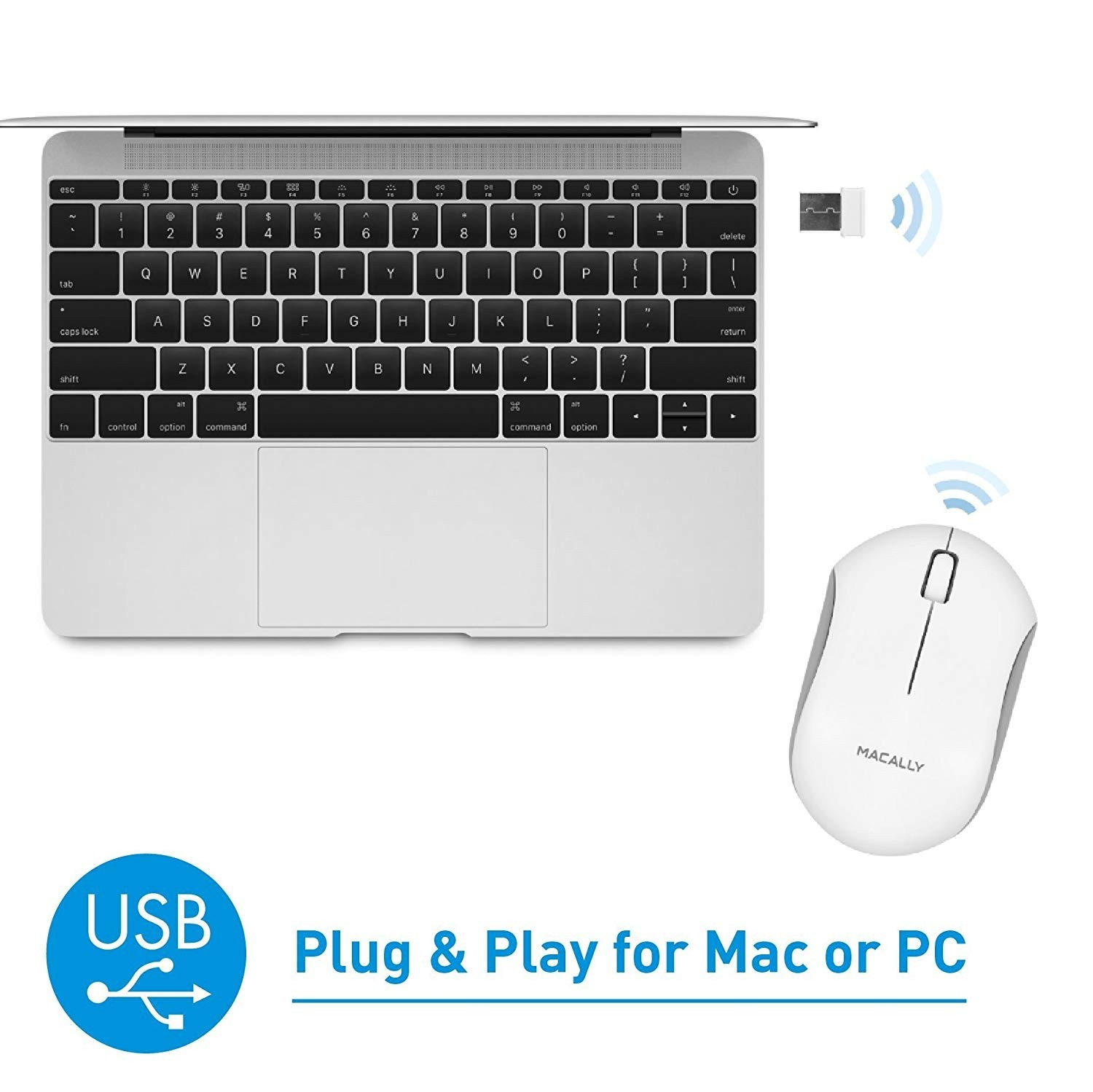 Macally RF Wireless Computer Mouse with 3 Button, Scroll Wheel, 2.4ghz Dongle Receiver, Compatible with Windows PC, Apple MacBook Pro/Air, iMac, Mac Mini, Laptops - White, RFQMOUSE