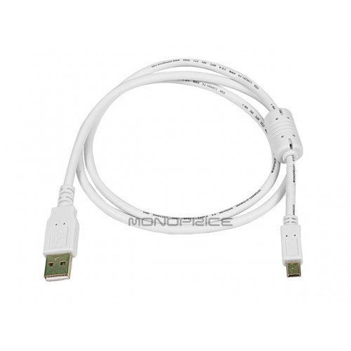 0.9m USB 2.0 A Male to Mini-B 5pin Male 28/24AWG Cable w/ Ferrite Core (Gold Plated) - WHITE